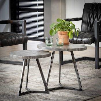 Table gigogne ronde bois de manguier gris métal (2 pièces) LUCKNOW
