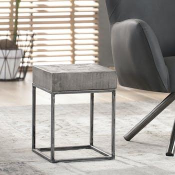 Petite table carrée grise LUCKNOW