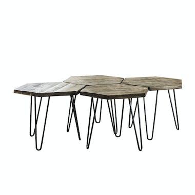 Table basse modulable graphique couleur grise (4 pièces) LUCKNOW