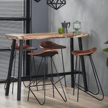 Table bar bois d'acacia massif métal 125 cm MELBOURNE