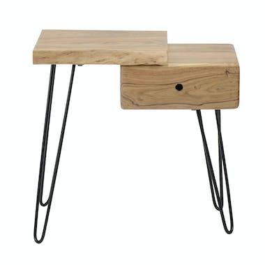 Table de chevet bois métal (côté gauche) MELBOURNE