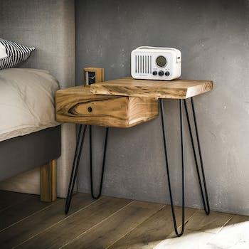 Table de chevet bois métal (côté droit) MELBOURNE