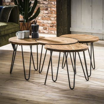 Tables Basses En Bois Rondes Carrees Industrielles