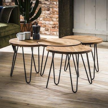 Table basse modulable ronde bois d'acacia (4 pièces) MELBOURNE