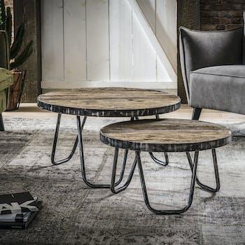 Table basse industrielle gigogne style vintage (2 pièces) OMSK