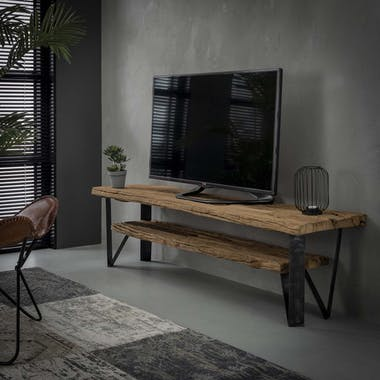 Banc TV bois brut recyclé 2 niveaux OMSK