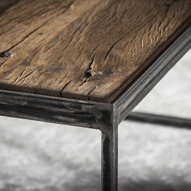 Bout de canapé bois brut recyclé carré PM OMSK