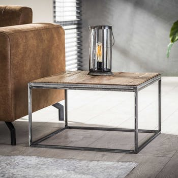 Bout de canapé bois brut recyclé carré GM OMSK