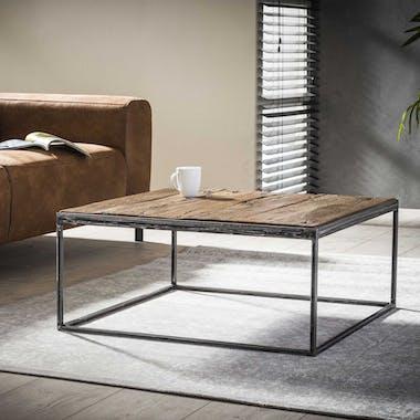 Table basse bois brut recyclé carrée OMSK