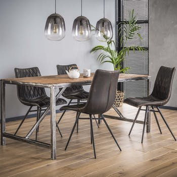 Table à manger bois brut recyclé tréteau métal 150 cm OMSK