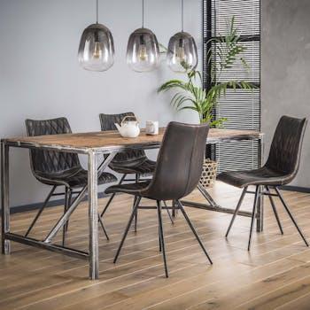 Table à manger bois brut recyclé tréteau métal 210 cm OMSK