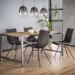 Table à manger bois brut recyclé tréteau métal 240 cm OMSK