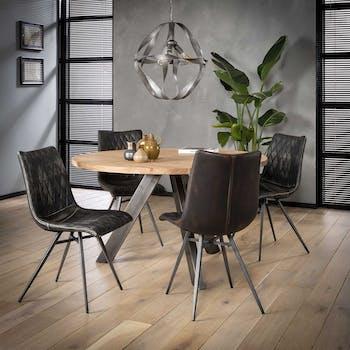 Table à manger ronde bois d'acacia inox 135 cm TRIBECA