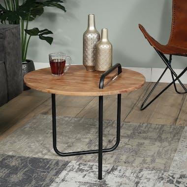 Table d'appoint ronde bois d'acacia métal TRIBECA