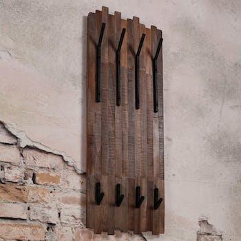 Portemanteau mural vertical bois recyclé teck 8 crochets JAVA