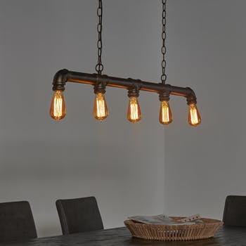 Suspension industrielle 5 lampes tuyau TRIBECA