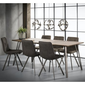 Table à manger rectangulaire effet chêne brun 190 cm HELSINKI