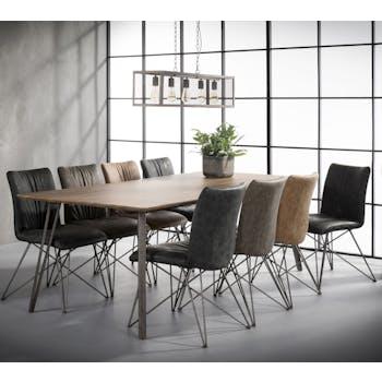 Table à manger rectangulaire effet chêne brun 240 cm HELSINKI
