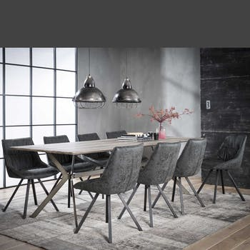 Table à manger rectangulaire effet chêne grisé traverse 240 cm HELSINKI