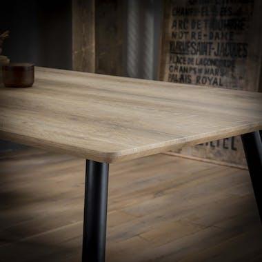 Table à manger rectangulaire effet chêne antique pieds ronds 160 cm HELSINKI