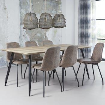 Table à manger rectangulaire effet chêne antique pieds ronds 190 cm HELSINKI