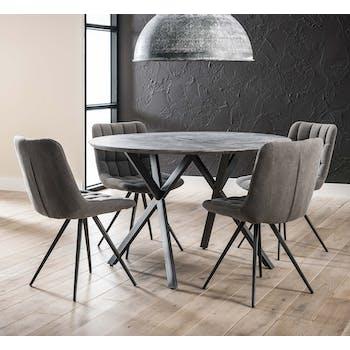 Table à manger ronde effet béton 120 cm HELSINKI