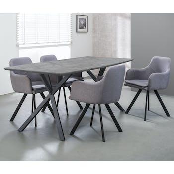Table à manger contemporaine effet béton 160 cm HELSINKI