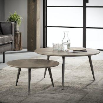 Table d'appoint ronde effet chêne grisé (2 pièces) HELSINKI