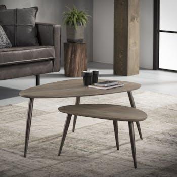 Table d'appoint forme galet effet chêne grisé (2 pièces) HELSINKI