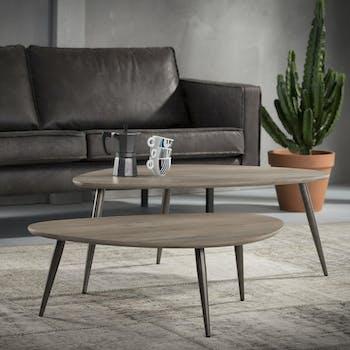 Table de salon forme galet effet chêne grisé (2 pièces) HELSINKI