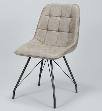 Chaise salle à manger marron foncé motif carré (lot de 2) MELBOURNE