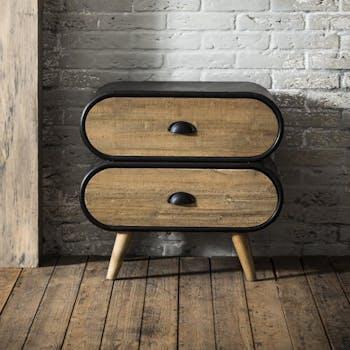 Petite commode bois massif métal 2 tiroirs NIAGARA