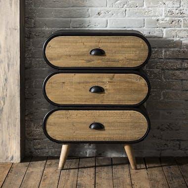 Petite commode bois massif métal 3 tiroirs NIAGARA