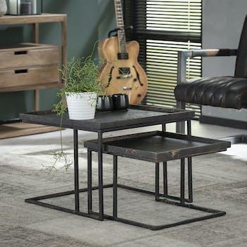 Table de salon gigogne carrée métal (2 pièces) RALF