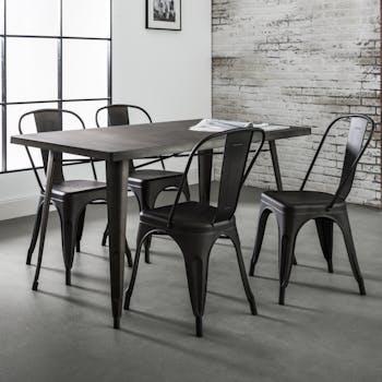 Table à manger métal style bistrot 140 cm RALF
