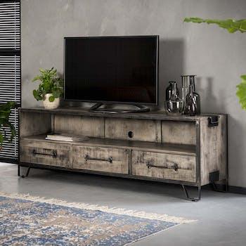 Meuble tv industriel bois gris 3 tiroirs poignées ROADIES