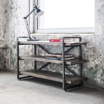 Console industrielle bois gris 3 niveaux ROADIES