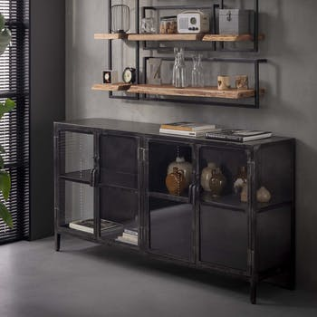 Buffet industriel métal verre ROADIES