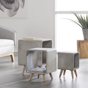 Table de chevet contemporaine cube béton MM