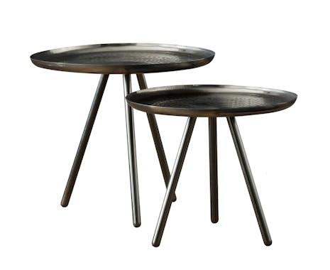 Table d'appoint ronde métal noir frappé (2 pièces)