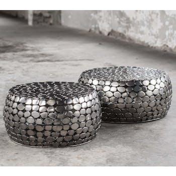 Table d'appoint ronde acier galets (2 pièces)
