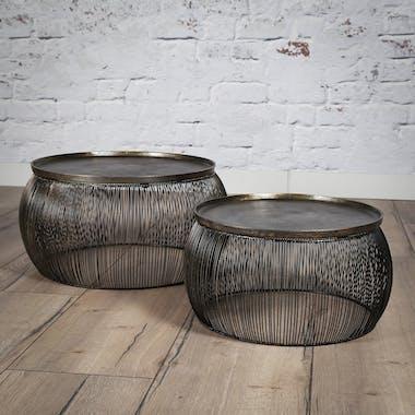 Table de salon ronde métal fil de fer fonte (2 pièces)