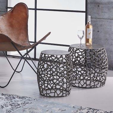 Bout de canapé nickel noir aluminium motifs ajourés (2 pièces)