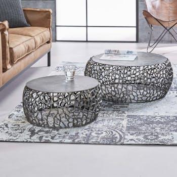 Table basse gigogne en métal gris motifs ajourés (2 pièces)