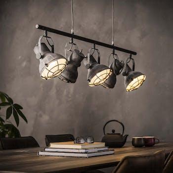 Suspension industrielle métal effet béton 5 lampes TRIBECA