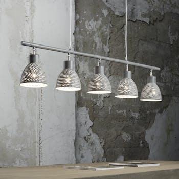 Suspension contemporaine ajourée métal gris vieilli 5 lampes RALF