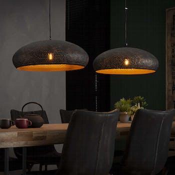 Suspension contemporaine ajourée ovale 2 lampes RALF