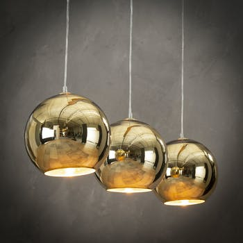 Suspension dorée contemporaine 3 lampes
