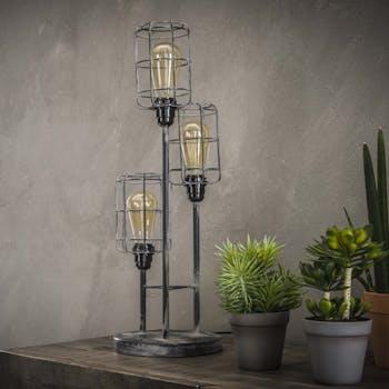 Lampe à poser industrielle 3 lampes étagées grillage TRIBECA