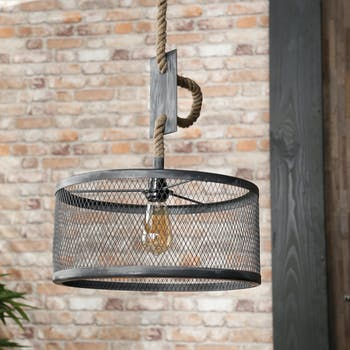 Suspension industrielle effet maille 1 lampe ronde TRIBECA